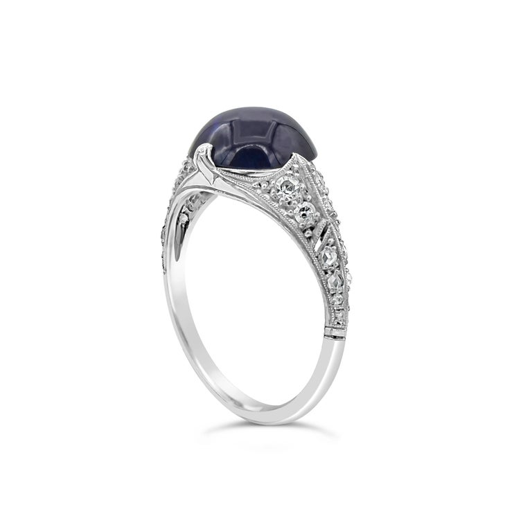 Art Deco AGL Certified Round Cabochon No Heat Blue Sapphire and Diamond Ring For Sale