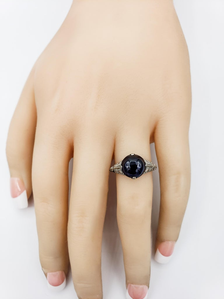 Women's or Men's AGL Certified Round Cabochon No Heat Blue Sapphire and Diamond Ring For Sale