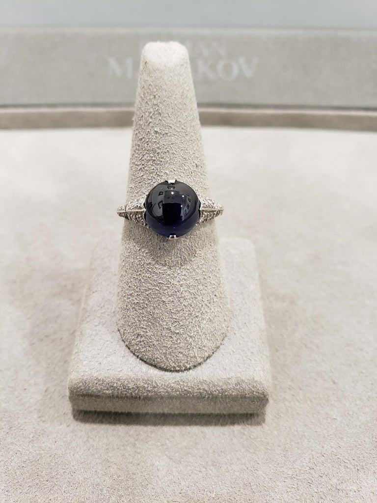 AGL Certified Round Cabochon No Heat Blue Sapphire and Diamond Ring For Sale 1