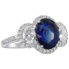 AGL Certified Sapphire Diamond and Platinum Three-Stone Ring