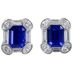 AGL Certified Sapphire Diamond Platinum Earrings