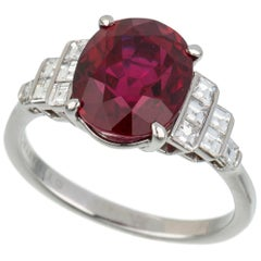 AGL Certified, Tiffany & Co., 5.45 Carat Natural Ruby and Diamond Ring