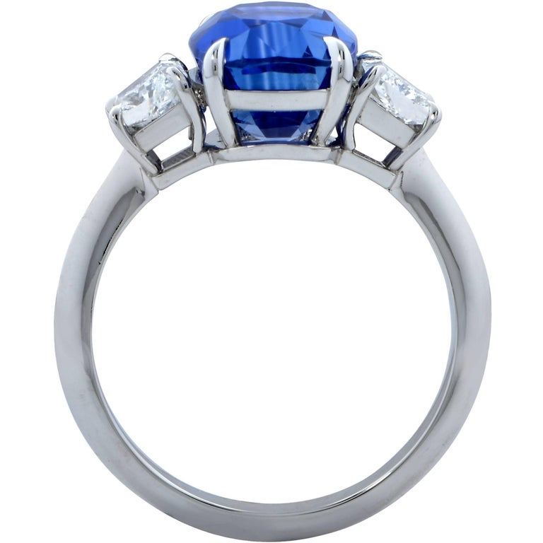 Cushion Cut Vivid Diamonds AGL Graded 4.85 Carat Sapphire and Diamond Three-Stone Ring For Sale