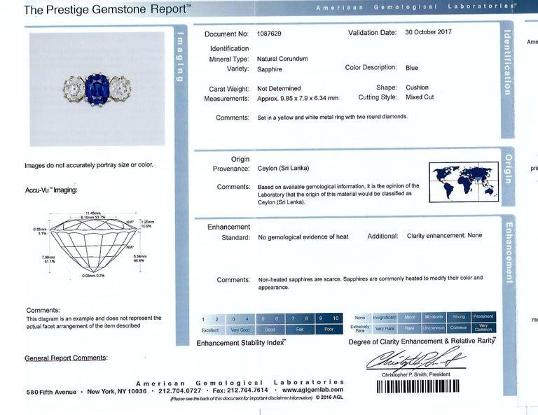 Vivid Diamonds AGL Graded 4.85 Carat Sapphire and Diamond Three-Stone Ring In New Condition For Sale In Miami, FL