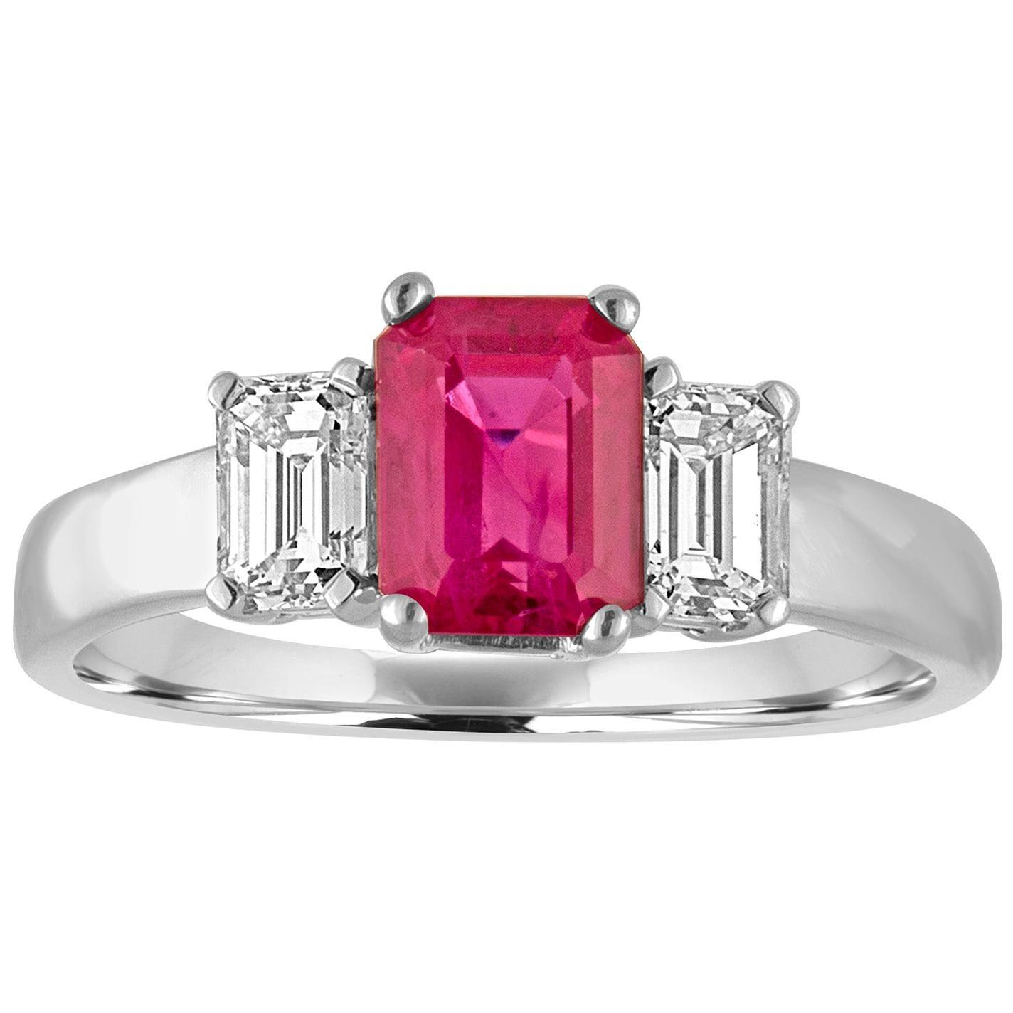 AGL and IGI Certified 1.27 Carat Burma Ruby Three-Stone Diamond Gold Ring