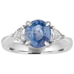 AGL & IGI Certified No Heat 2.44 Carat Oval Blue Sapphire Diamond Gold Ring