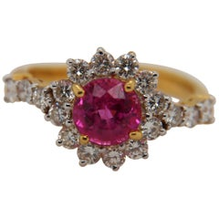 AGL Certified 1.89 Carat Burmese No Heat Ruby and Diamond Ring