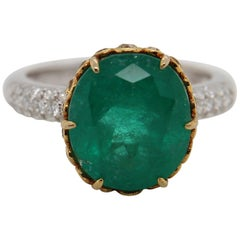 AGL Thai Certified 6.19 Carat Emerald Cocktail Ring