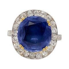 AGL Unheated Kashmir Blue Sapphire Cushion and White Diamond Cocktail Ring