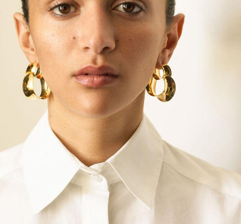 Contemporary AGMES Gold Vermeil Double Hoop Layered Curve Earrings For Sale
