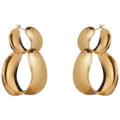 Agmes Gold Vermeil Double Hoop Layered Curve Earrings