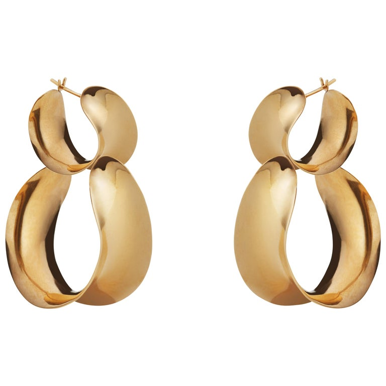 AGMES Gold Vermeil Double Hoop Layered Curve Earrings For Sale
