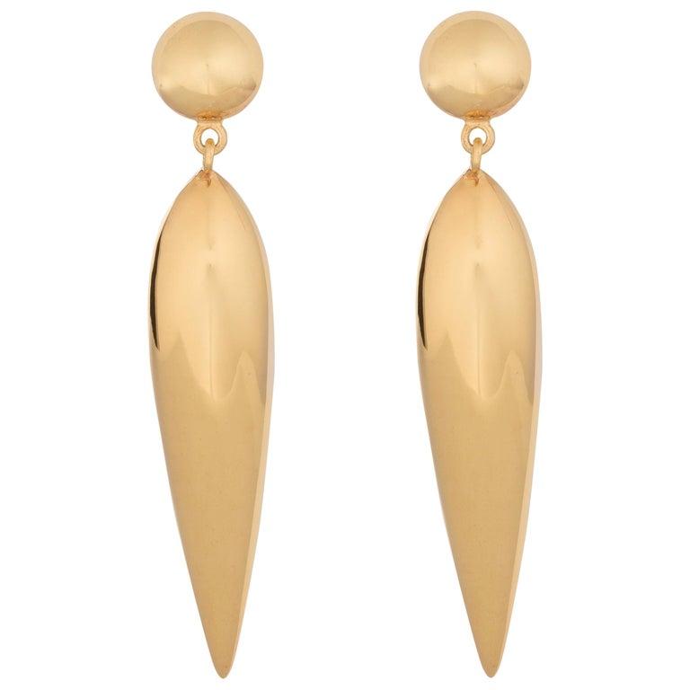 AGMES Gold Vermeil Drop Lightweight Dangle Tear Earrings For Sale