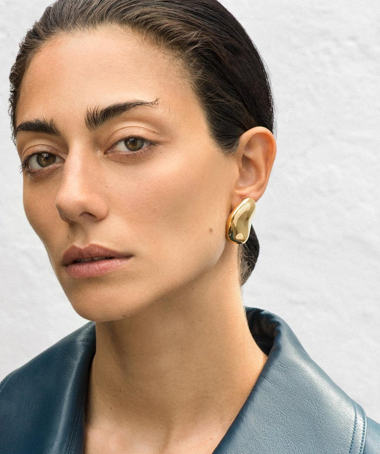 AGMES Gold Vermeil Large Organic Shape Statement Stud Earrings In New Condition For Sale In New York, NY