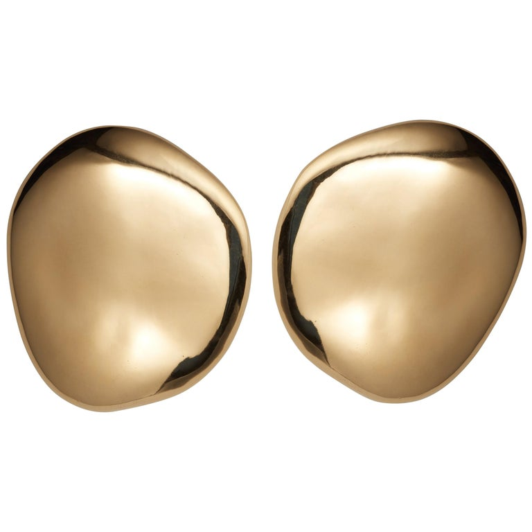 AGMES Gold Vermeil Large Organic Shape Statement Stud Earrings For Sale