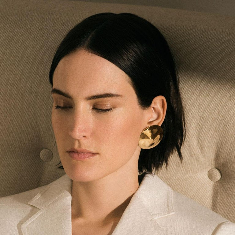 Contemporary AGMES Gold Vermeil Large Organic Round Stud Earrings For Sale