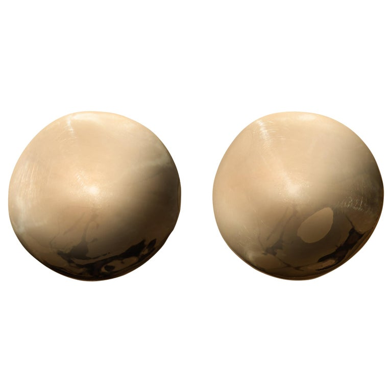 AGMES Gold Vermeil Large Organic Round Stud Earrings For Sale