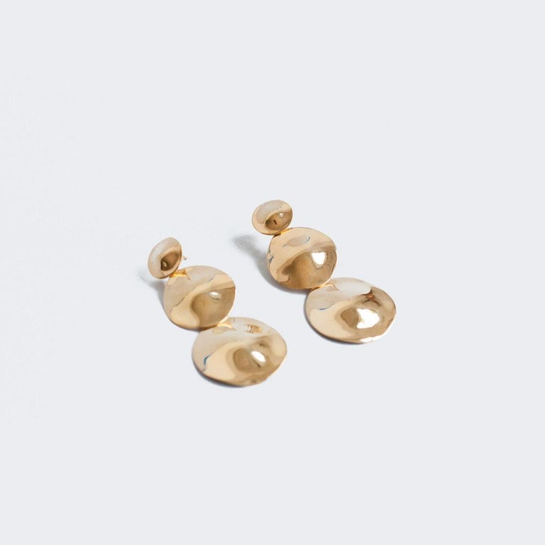 Contemporary AGMES Gold Vermeil Long Layered Round Drop Earrings For Sale