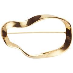 AGMES Gold Vermeil organische Form Brosche