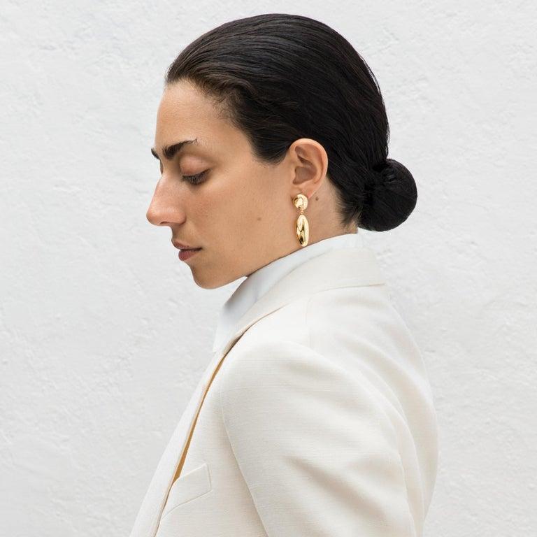 Contemporary AGMES Gold Vermeil Sculptural Drop Earrings