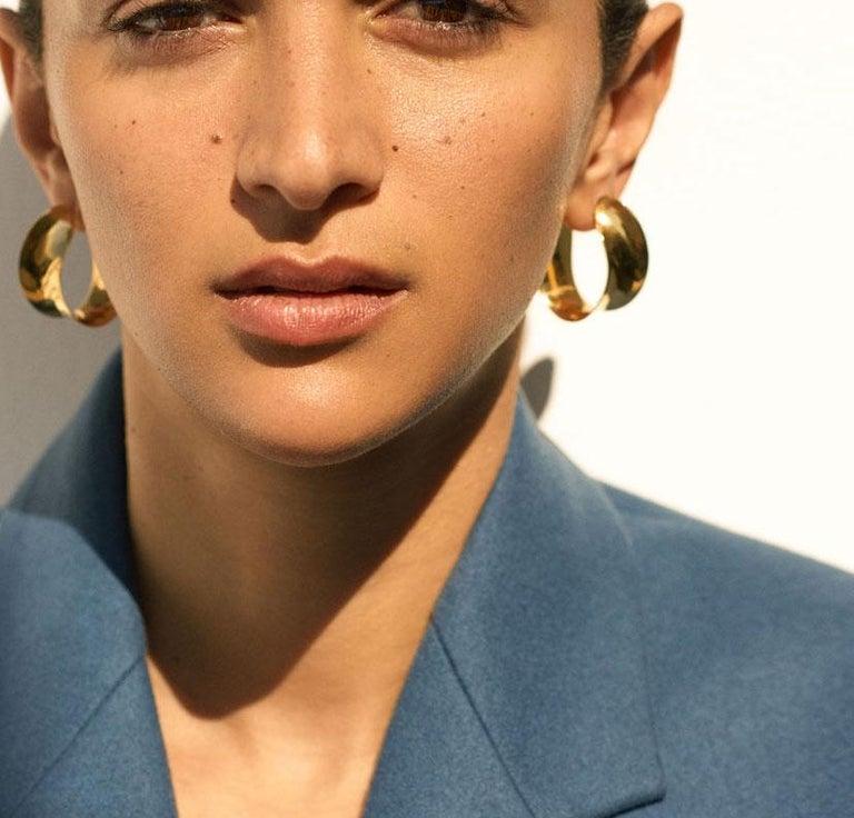 Contemporary AGMES Gold Vermeil Unique Curve Hoop Earrings For Sale