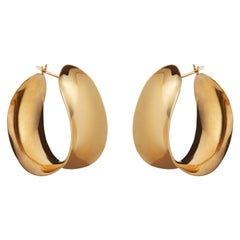 AGMES Gold Vermeil Unique Curve Hoop Earrings