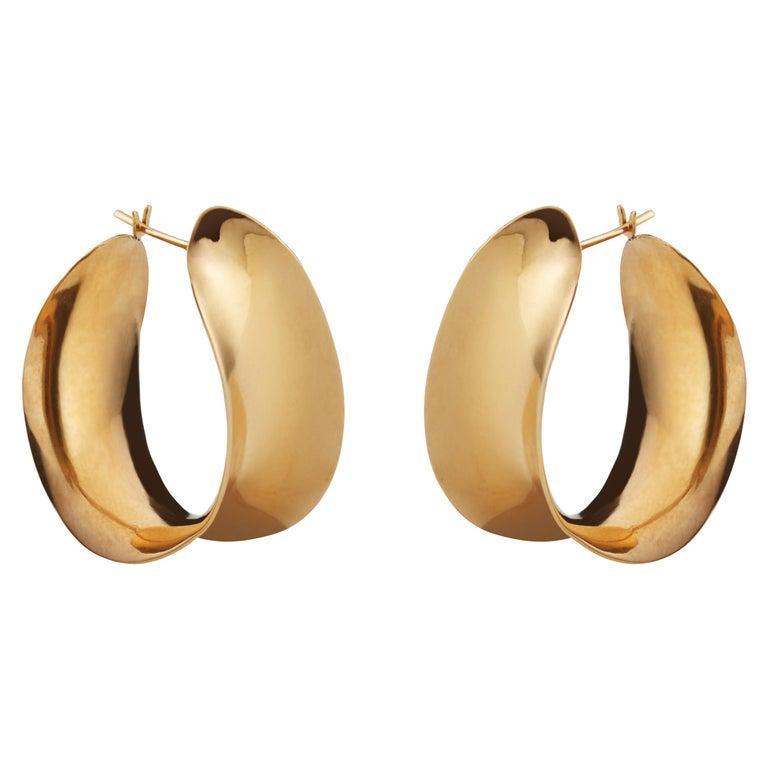 AGMES Gold Vermeil Unique Curve Hoop Earrings For Sale