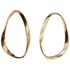AGMES Gold Vermeil Unique Curved Lightweight Drop Hoop Earrings