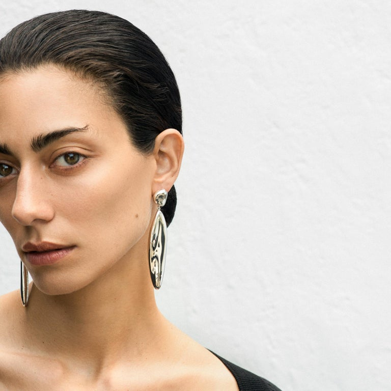 AGMES Long Drop Sterling Silver Statement Earrings. Sterling Silver posts. Also available in short version.  Please see other 1stDibs AGMES listings and contact us for more information. Handmade in New York City. Inspired by urban landscapes,