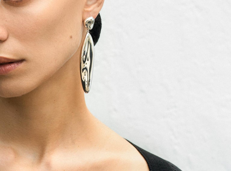 Contemporary AGMES Long Drop Sterling Silver Statement Earrings For Sale