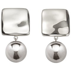 AGMES Sterling Silver Lightweight Dangle Earrings w Sculptural Square and Drop