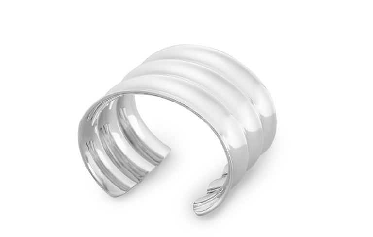 Contemporary AGMES Sterling Silver Modern Sculptural Cuff Bracelet For Sale