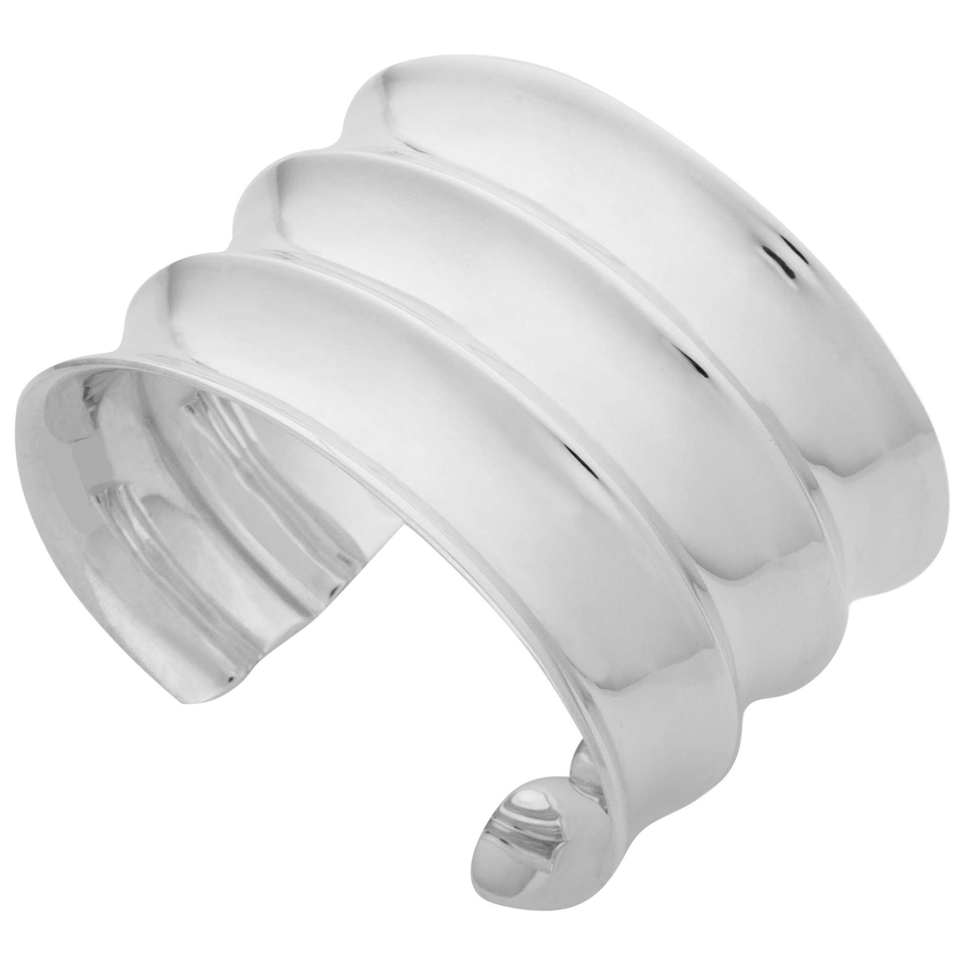 AGMES Sterling Silver Modern Sculptural Statement Cuff Bracelet