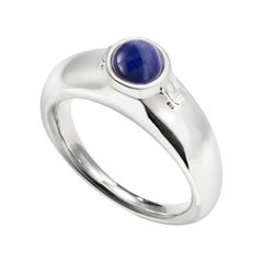 AGMES Sterling Silver Ring with Lapis Stone and Hidden Locket
