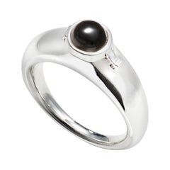 AGMES Sterling Silver Ring with Onyx Stone and Hidden Locket