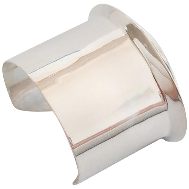 AGMES Sterling Silver Simple and Modern Cuff with Geometric Edge Detail