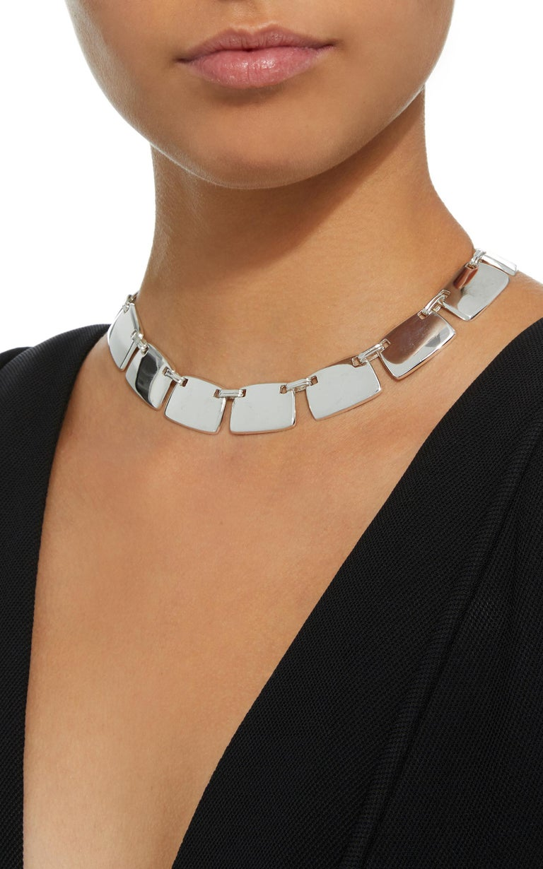 AGMES Sterling Silver Unique Elegant Link Collar Necklace In New Condition For Sale In New York, NY