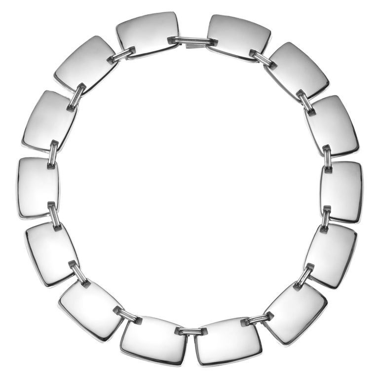 AGMES Sterling Silver Unique Elegant Link Collar Necklace For Sale