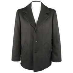 AGNES B. 44 Black Wool Slanted Pocket Pea Coat