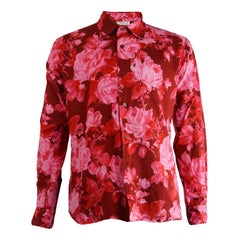 Agnes B Homme Vintage Men's Pink Floral Print Cotton Long Sleeve Shirt, 1990s