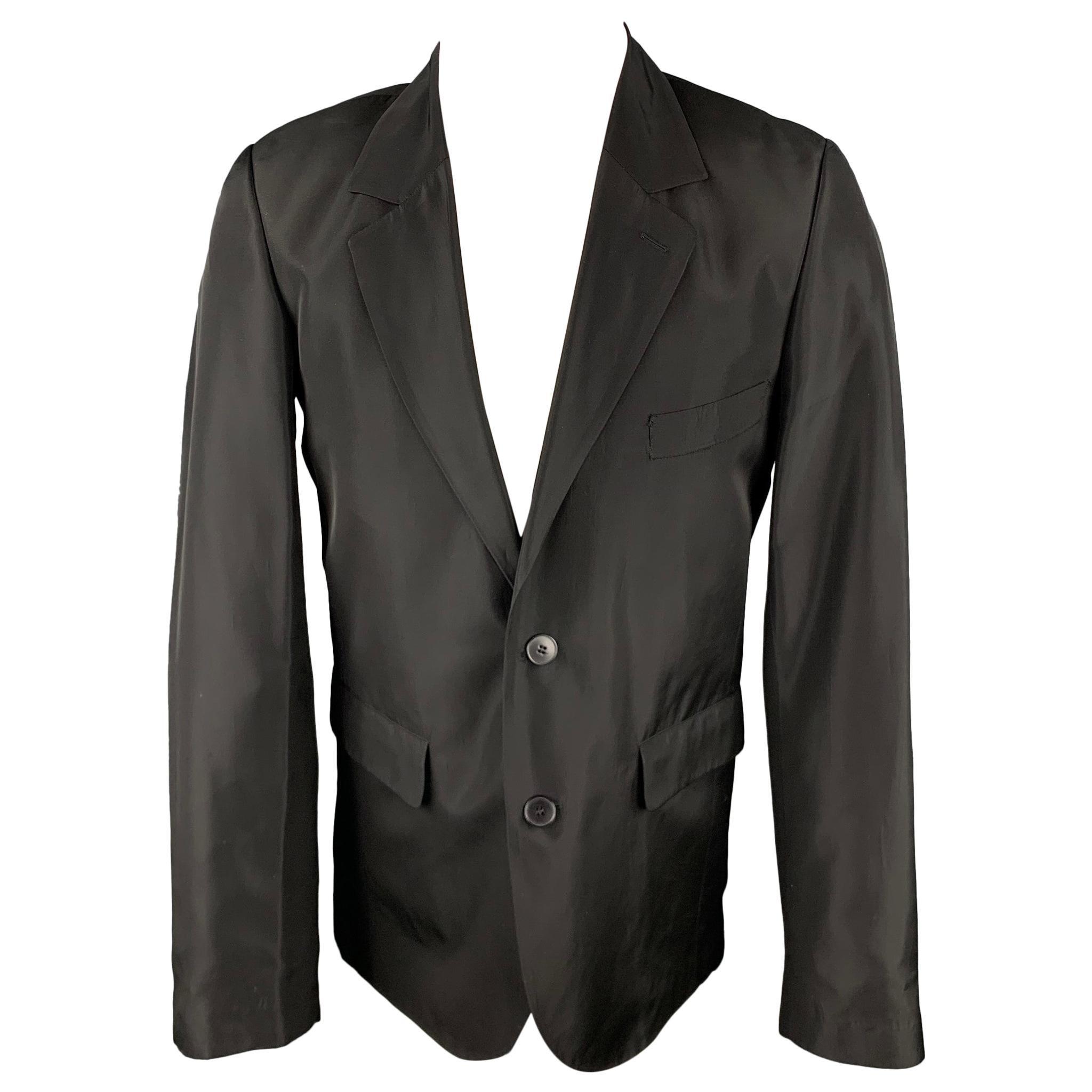 AGNES B. Size 38 Black Acetate Notch Lapel Sport Coat