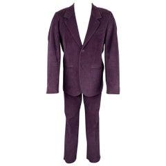 AGNES B. Size 40 Purple Corduroy Cotton Notch Lapel Suit
