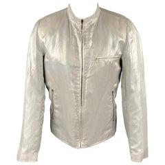AGNÈS B. Size 42 Silver Metallic Linen Blend Zip Up Jacket