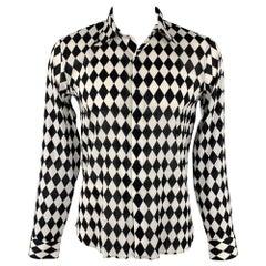 AGNES B. Size L Black & White Rhombus Print Cotton Long Sleeve Shirt