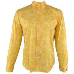 AGNES B. Size L Yellow Snake Skin Print Textured Cotton Button Up Long Sleeve Sh