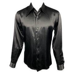 AGNES B. Size M Black Acetate Blend Button Up Long Sleeve Shirt