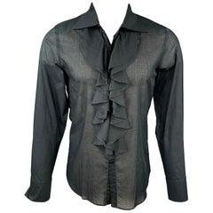 AGNÈS B. Size M Black Cotton Button Up Long Sleeve Shirt