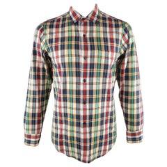 AGNES B. Size S Multi-Color Plaid Cotton Button Up Long Sleeve Shirt