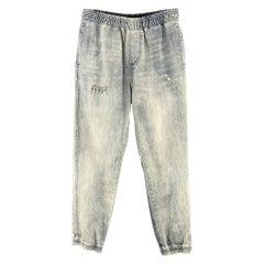AGNES B. SPORT Size 26 Indigo Acid Wash Denim Elastic Waistband Jeans