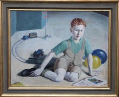 The Train Set - British 20's art interior oil portrait boy playing female artist